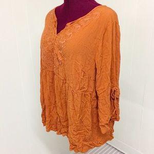 3XL TORRID Rust Embroidered Crinkle Boho Tunic